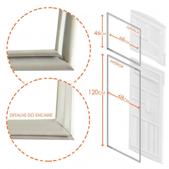 Gaxeta Borrachas Geladeira refrigerador Bosch Kdn46, Kdn47, Kdn49, Kdn50