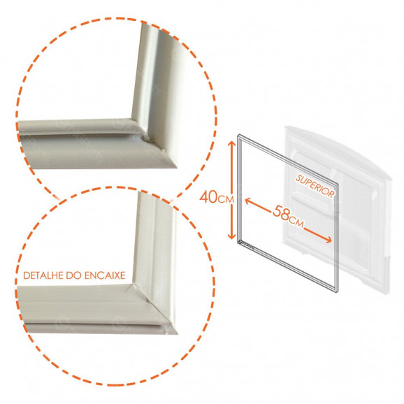 Medidas Borracha Superior Refrigeradores Bosch e Continental 340 Litros